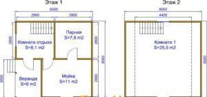 Баня 6х6 с мансардой, проект