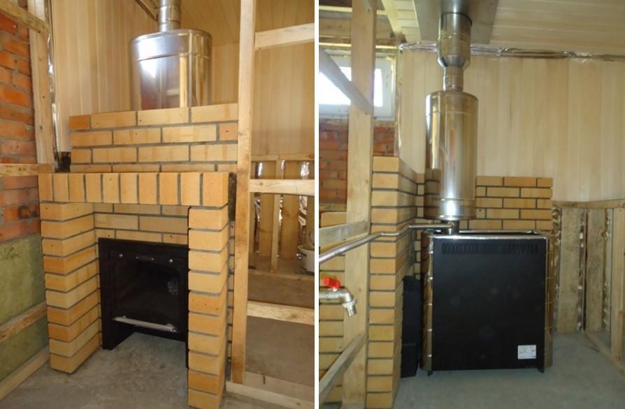 Кирпичный портал и печь - фото. Некоторые мастера рекомендуют сначала возводить кирпичные стенки, а только потом заниматься обшивкой стен вагонкой
