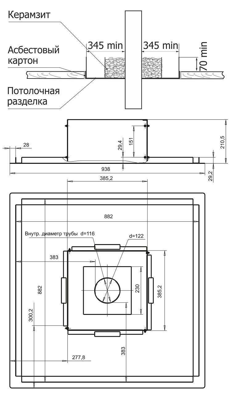 Разделка потолочная. схема установки