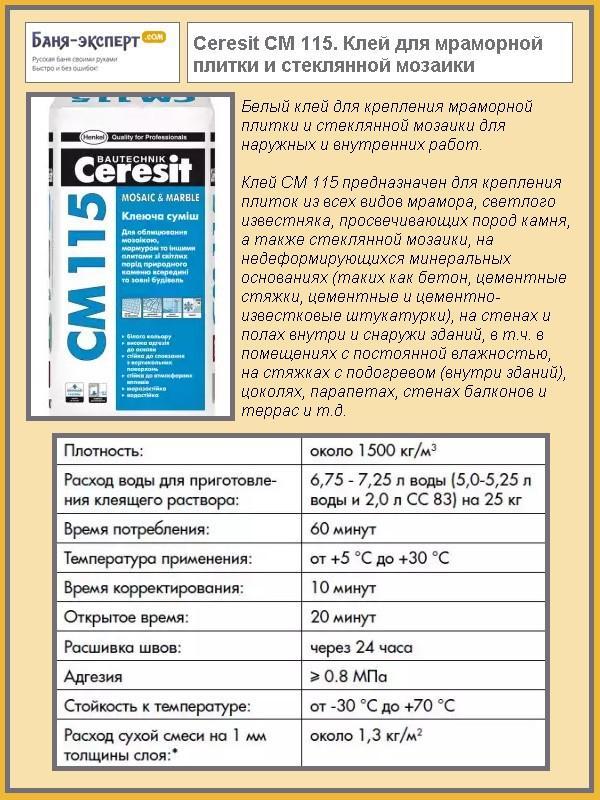 Ceresit СМ 115. Клей для мраморной плитки и стеклянной мозаики