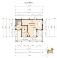 Баня площадью 39,7 кв.м с террасой 22,4 кв.м, план