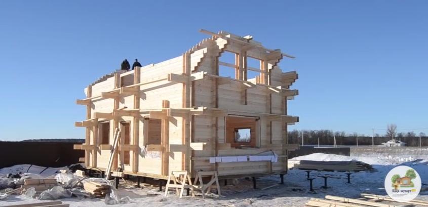 Строительство бани по технологии двойного бруса: первый и второй этажи
