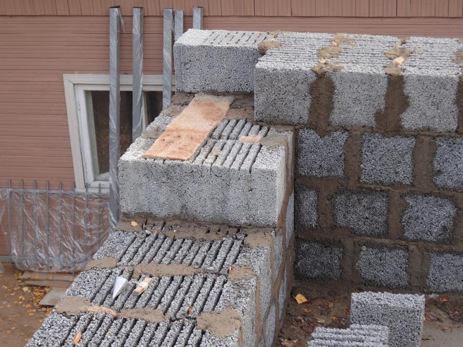 Кладка стены из многощелевого керамзитобетонного блока
